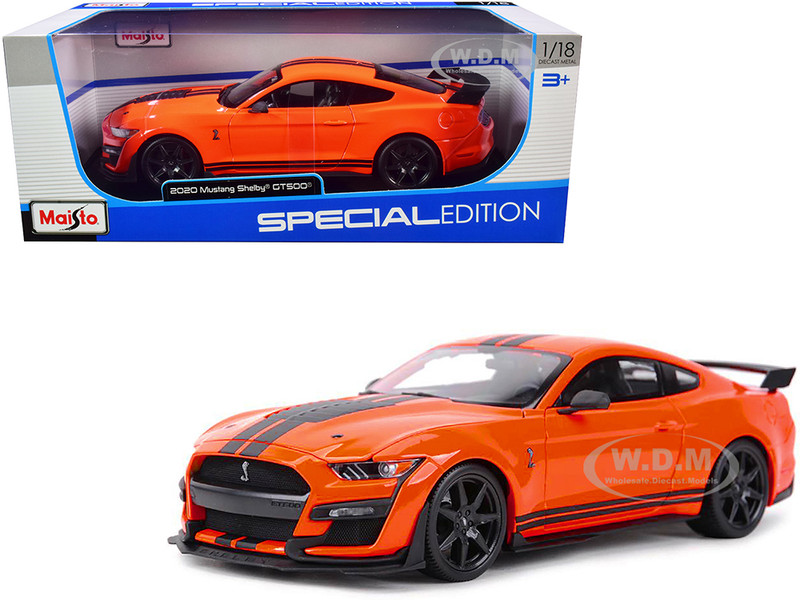 2020 Ford Mustang Shelby GT500 Orange Black Stripes Special Edition 1/18 Diecast Model Car Maisto 31388