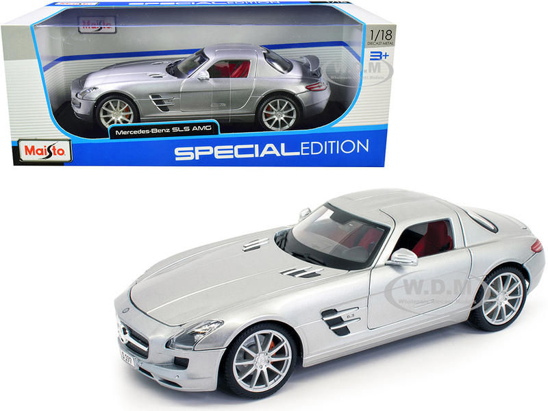 Mercedes Benz SLS AMG Silver Metallic Special Edition 1/18 Diecast Model Car Maisto 31389