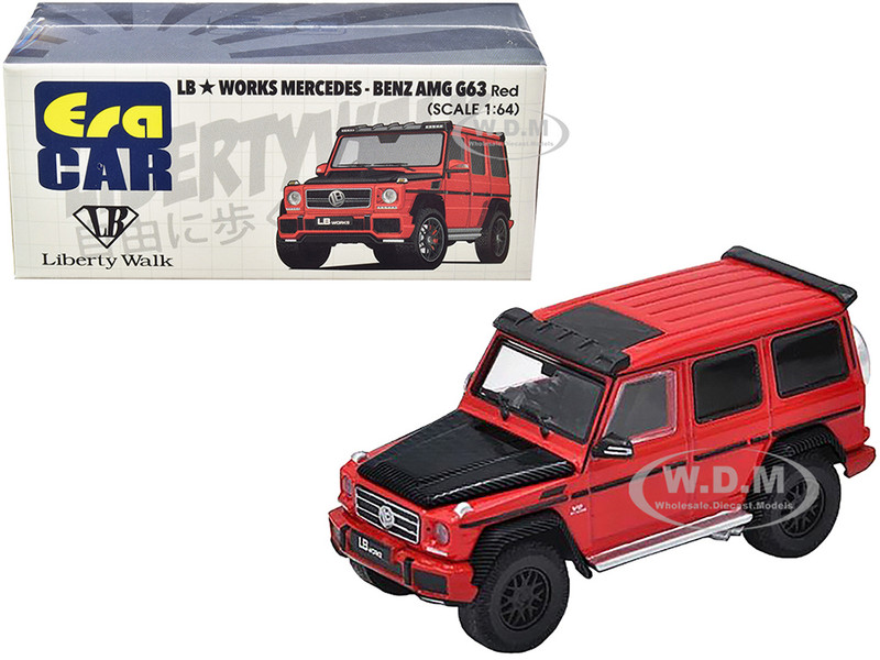 Mercedes Benz AMG G63 LB Works Wagon Red Carbon Hood 1/64 Diecast Model Car Era Car MB204X4SP29