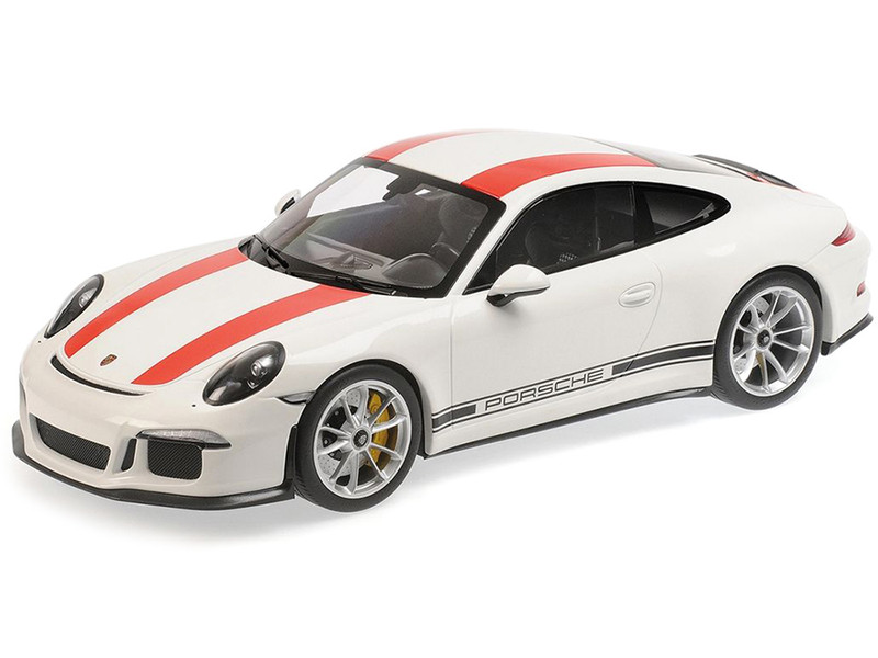 2016 Porsche 911 R White Red Stripes Black Writing 1/12 Diecast Model Car Minichamps 125066320
