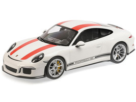 2016 Porsche 911 R White Red Stripes Black Writing 1/12 Diecast Model Car Minichamps 125066320