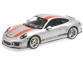 2016 Porsche 911 R Silver Red Stripes Black Writing 1/12 Diecast Model Car Minichamps 125066321