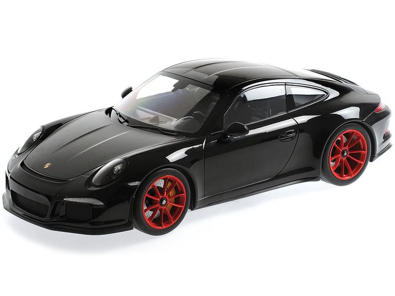 2016 Porsche 911 R Black Red Wheels 1/12 Diecast Model Car Minichamps 125066322