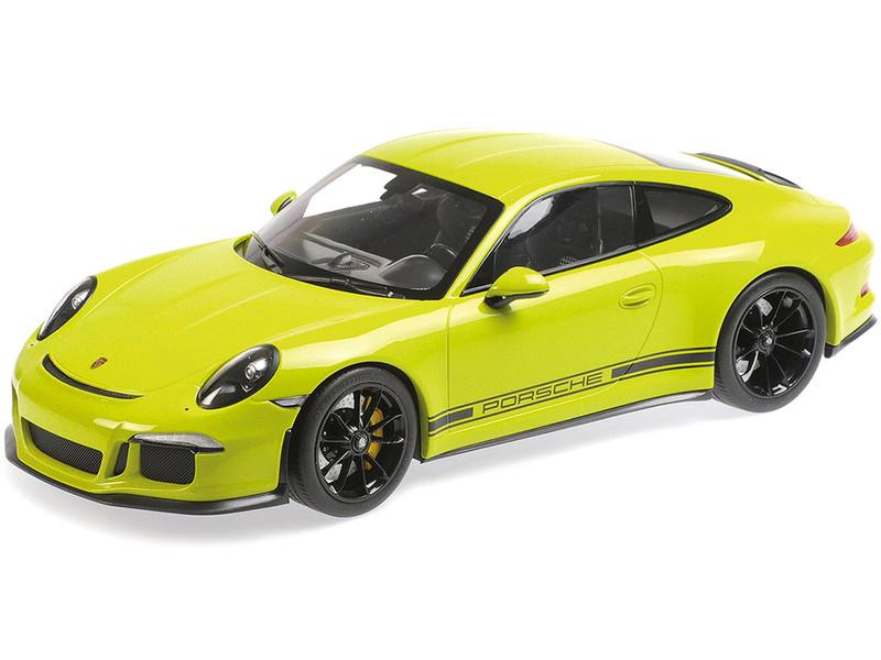 2016 Porsche 911 R Light Green Black Wheels Black Writing 1/12 Diecast Model Car Minichamps 125066326