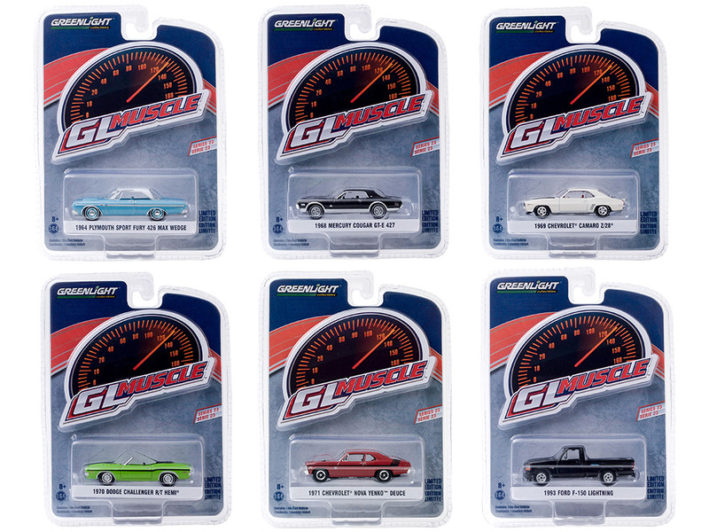 Greenlight Muscle Set of 6 Cars Series 23 1/64 Diecast Model Cars Greenlight 13270