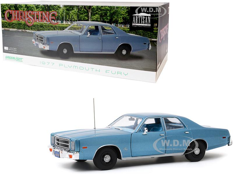 1977 Plymouth Fury Steel Blue Detective Rudolph Junkins' Christine 1983 Movie 1/18 Diecast Model Car Greenlight 19082