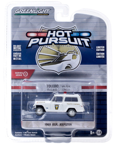 1969 Jeep Jeepster Traffic Control Toledo Police Ohio White Hot Pursuit Series 35 1/64 Diecast Model Car Greenlight 42920 A