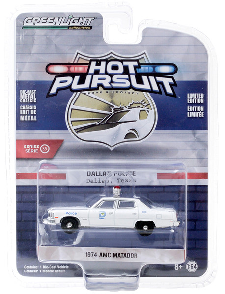 1974 AMC Matador Dallas Police Texas White Hot Pursuit Series 35 1/64 Diecast Model Car Greenlight 42920 C