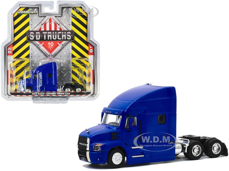2019 Mack Anthem Truck Cab Cobalt Blue Metallic SD Trucks Series 10 1/64 Diecast Model Greenlight 45100 B