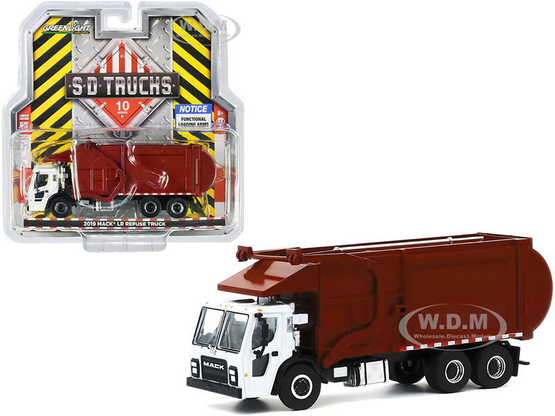 2019 Mack LR Refuse Garbage Truck White Burgundy SD Trucks Series 10 1/64 Diecast Model Greenlight 45100 C