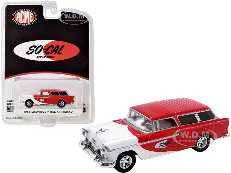 1955 Chevrolet Bel Air Nomad So-Cal Speed Shop Red White ACME Exclusive 1/64 Diecast Model Car Greenlight ACME 51340