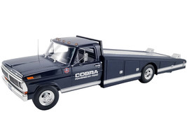 1970 Ford F-350 Ramp Truck Dark Blue White Stripes Cobra Powered by Ford 1/18 Diecast Model Car ACME A1801405