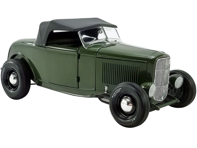 1932 Ford Roadster Green with Envy Olive Drab Green Black Top Limited Edition 498 pieces Worldwide 1/18 Diecast Model Car ACME A1805018