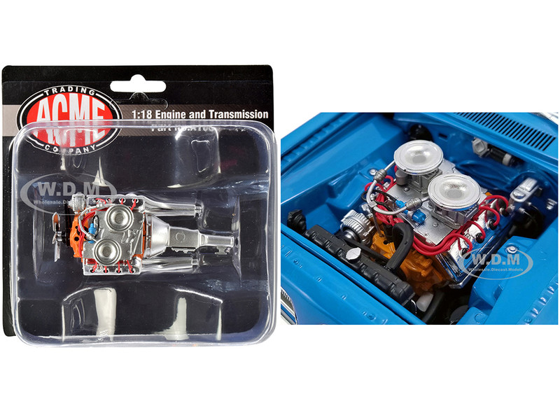 Engine and Transmission 426 Hemi Replica from 1969 Plymouth Hemi Barracuda Street Fighter 1/18 ACME A1806117E