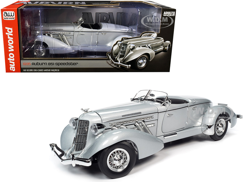 1935 Auburn 851 Speedster Haze Gray 1/18 Diecast Model Car Autoworld AW268