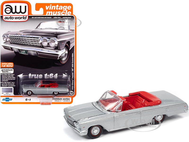 1962 Chevrolet Impala SS 409 Convertible Satin Silver Metallic Red Interior Vintage Muscle Limited Edition 10312 pieces Worldwide 1/64 Diecast Model Car Autoworld 64262 AWSP045 A