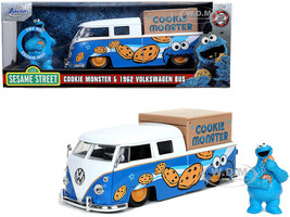 1962 Volkswagen Pickup Bus Cookie Monster Diecast Figurine Sound Sesame Street TV Series 1/24 Diecast Model Car Jada 31751