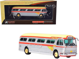 1959 GM PD4104 Motorcoach Santa Fe Train Bus Destination Albuquerque Albuquerque New Mexico Silver Orange Yellow Top Vintage Bus & Motorcoach Collection 1/87 Diecast Model Iconic Replicas 87-0203