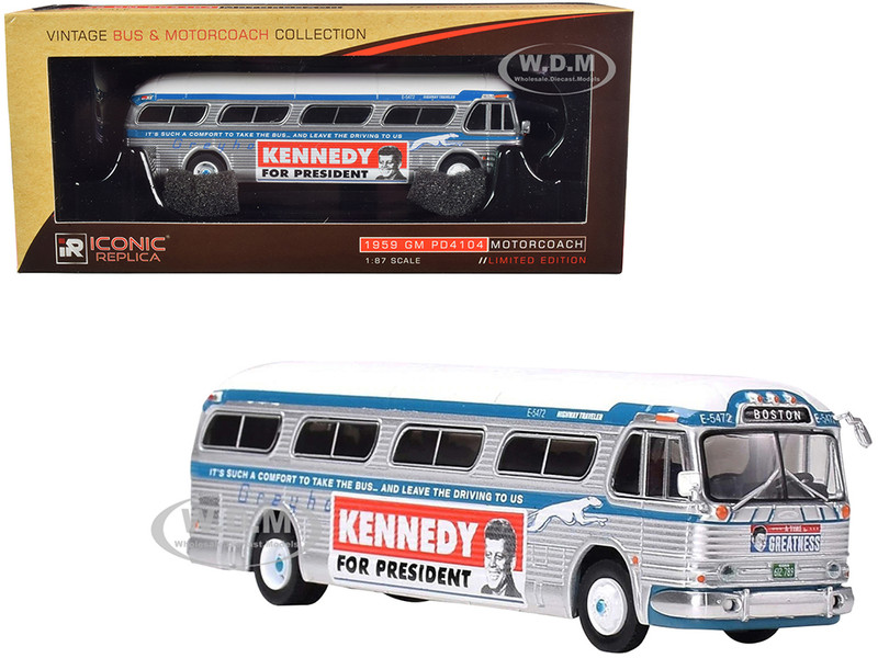 1959 GM PD4104 Motorcoach Bus Greyhound Kennedy Campaign Boston Massachusetts Silver Blue White Top Vintage Bus & Motorcoach Collection 1/87 Diecast Model Iconic Replicas 87-0204
