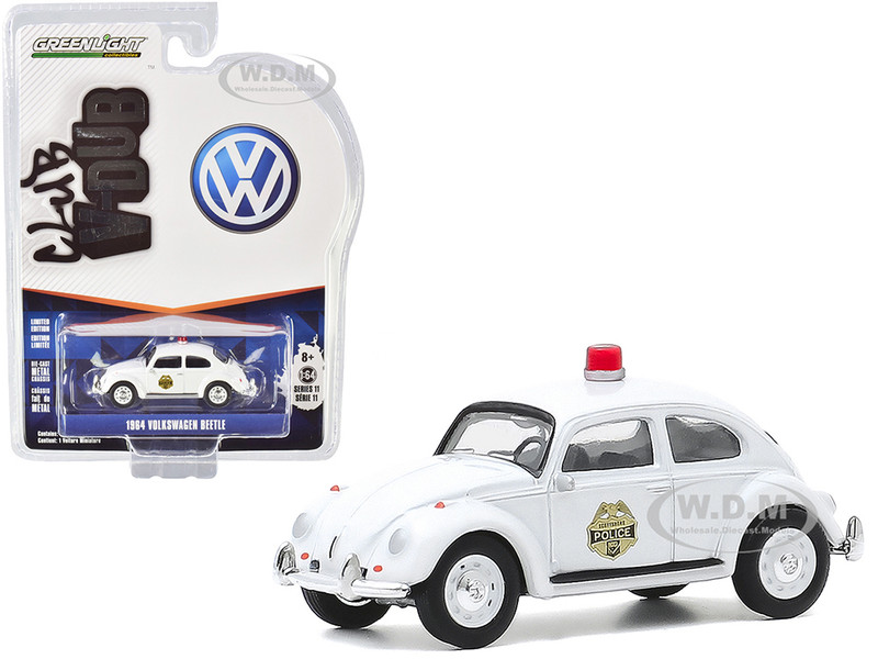 1964 Volkswagen Beetle Police Car White Scottsboro Police Department Scottsboro Alabama Club Vee V-Dub Series 11 1/64 Diecast Model Car Greenlight 30000 A