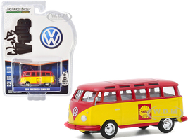1964 Volkswagen Samba Bus Shell Oil Yellow Red Club Vee V-Dub Series 11 1/64 Diecast Model Greenlight 30000 B