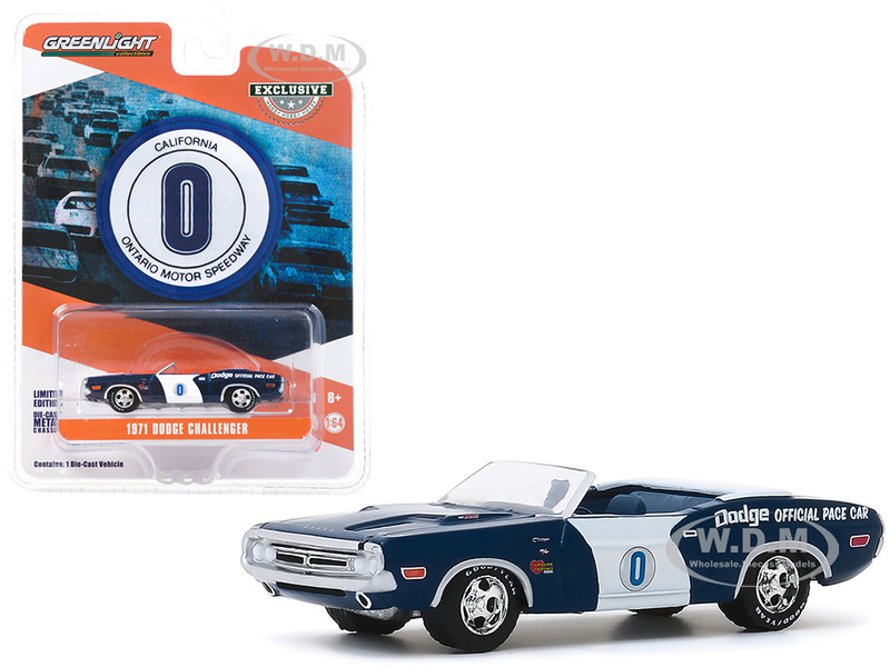 1971 Dodge Challenger Convertible Official Pace Car #0 Blue White Ontario Motor Speedway California Hobby Exclusive 1/64 Diecast Model Car Greenlight 30145