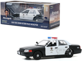 2008 Ford Crown Victoria Police Interceptor White Black LAPD Los Angeles Police Department The Rookie 2018 TV Series 1/24 Diecast Model Car Greenlight 84111