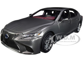 Lexus LS500h Manganese Luster Gray Metallic Crimson Black Interior 1/18 Model Car Autoart 78867