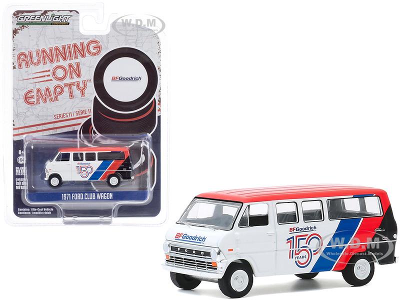 1971 Ford Club Wagon Bus White Red Stripes BFGoodrich 150th Anniversary Running on Empty Series 11 1/64 Diecast Model Greenlight 41110 C
