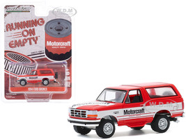 1994 Ford Bronco Red White Stripes Motorcraft Running on Empty Series 11 1/64 Diecast Model Car Greenlight 41110 E