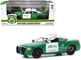 2008 Dodge Charger Pursuit Police Car Carabineros de Chile Green White 1/43 Diecast Model Car Greenlight 86596