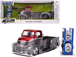 1952 Chevrolet COE Pickup Truck Gray Metallic Candy Red Extra Wheels Just Trucks Series 1/24 Diecast Model Car Jada 31544