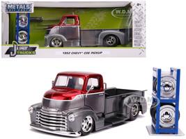 1952 Chevrolet COE Pickup Truck Gray Metallic Candy Red Extra Wheels Just Trucks Series 1/24 Diecast Model Car Jada 31544