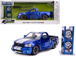1999 Ford F-150 SVT Lightning Pickup Truck Candy Blue White Stripes Extra Wheels Just Trucks Series 1/24 Diecast Model Car Jada 31567