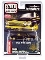 1962 Chevrolet Impala SS Hardtop Black Gold Custom Lowriders Limited Edition 4800 pieces Worldwide 1/64 Diecast Model Car Autoworld CP7656