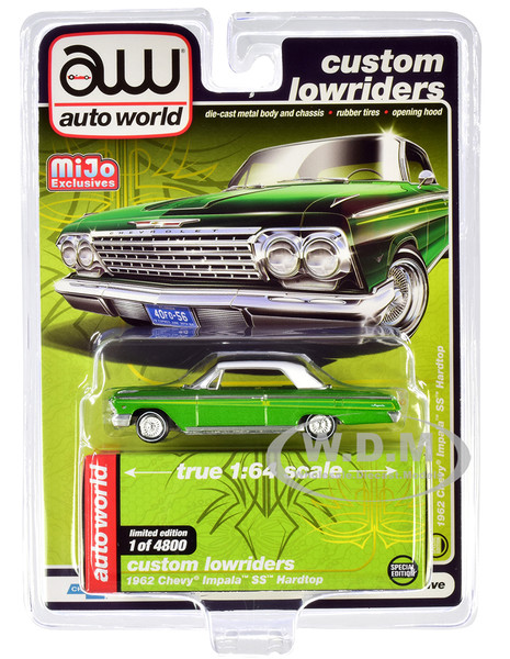 1962 Chevrolet Impala SS Hardtop Green Metallic White Top Custom Lowriders Limited Edition 4800 pieces Worldwide 1/64 Diecast Model Car Autoworld CP7657