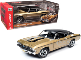 1969 Chevrolet Chevelle Yenko Hardtop Olympic Gold Metallic Black Top Black Stripes 1/18 Diecast Model Car Autoworld AMM1206