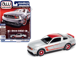 2012 Ford Mustang Boss 302 Laguna Seca Ingot Silver Metallic Red Red Wheels Modern Muscle Limited Edition 13312 pieces Worldwide 1/64 Diecast Model Car Autoworld 64262 AWSP046 B