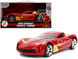 2009 Chevrolet Corvette Stingray Red Yellow The Flash DC Comics Hollywood Rides Series 1/32 Diecast Model Car Jada 31610