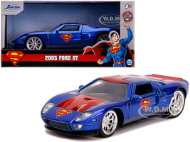 2005 Ford GT Candy Blue Red Gold Stripes Superman DC Comics Hollywood Rides Series 1/32 Diecast Model Car Jada 31717
