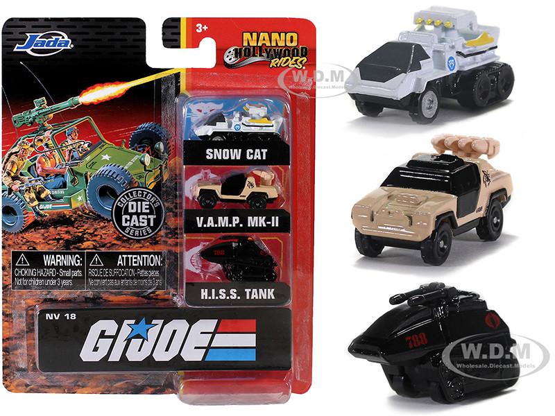 G.I. Joe 3 piece Set Nano Hollywood Rides Diecast Models Jada 32083