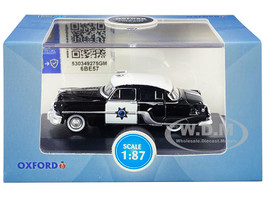 1954 Pontiac Chieftain 4-Door Sedan Black White CHP California Highway Patrol 1/87 HO Scale Diecast Model Car Oxford Diecast 87PC54003