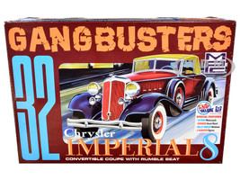 Skill 2 Model Kit 1932 Chrysler Imperial Eight Police Motorcycle 2 Gangster Figurines Gangbusters 1/25 Scale Model MPC MPC926