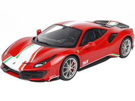 Ferrari 488 Pista Piloti Rosso Corsa 322 Red White Green Red Stripes DISPLAY CASE Limited Edition 232 pieces Worldwide 1/18 Model Car BBR P18160A