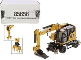 CAT Caterpillar M323F Railroad Wheeled Excavator 3 Accessories CAT Yellow Version High Line Series 1/87 HO Scale Diecast Model Diecast Masters 85656