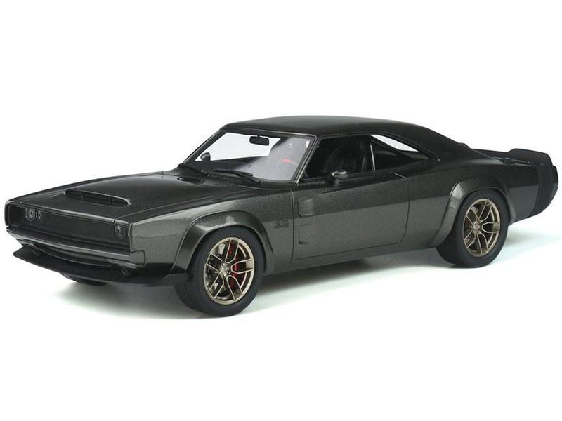 1968 Dodge Super Charger Hellephant Dark Gray Metallic Black Tail Stripes 1/18 Model Car GT Spirit GT272