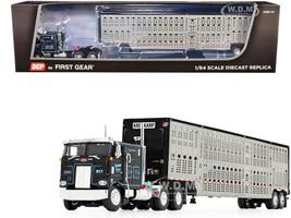 "Peterbilt 352 COE 110"" Sleeper Cab Wilson Livestock Tandem-Axle Trailer Kreilkamp Trucking Black Silver 1/64 Diecast Model DCP First Gear 60-0844"