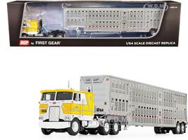 """Peterbilt 352 COE 110"""" Sleeper Cab Wilson Livestock Tandem-Axle Trailer Kreilkamp Trucking Yellow Silver 1/64 Diecast Model DCP First Gear 60-0845"""
