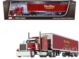"Peterbilt 379 63"" Mid-Roof Sleeper Cab 53' Utility Dry Goods Spread-Axle Trailer Pac-Man Transport Burgundy 1/64 Diecast Model DCP First Gear 60-0854"