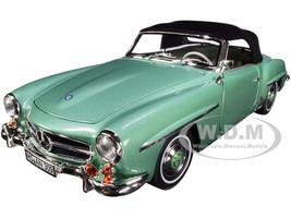 1957 Mercedes Benz 190 SL Cabriolet Light Green Metallic Black Top 1/18 Diecast Model Car Norev 183401